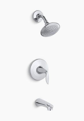 K-TS5318-4-CP Refinia Rite-Temp Bath and Shower valve Trim with Lever Handle  Spout and 2.5 GPM Showerhead in Polished