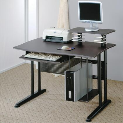 800244 Computer Desk with Roll Out Keyboard Tray  Computer Storage  Elevated Shelf  Wood and Metal in Black