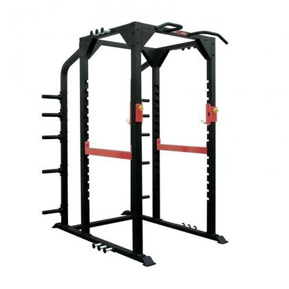 XM-3344 Commercial Full Power Rack with Built-in Plate Storage Rack  Chin Up Bars and Rubber Feet in