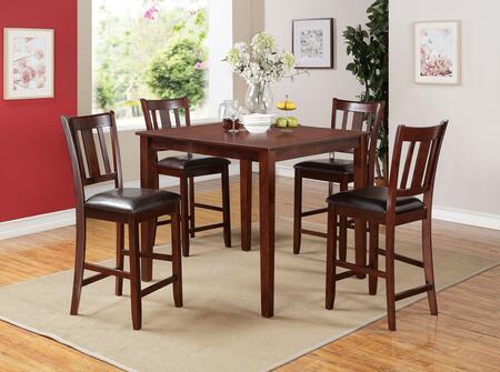 Odran Collection 71220 5 PC Counter Height Dining Set with Tapered Legs  Slat Back Chairs  Bycast PU Leather Upholstery  Rubberwood and Birch Veneer Materials