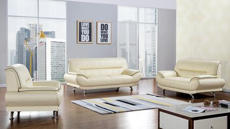 EK-B118 Collection EK-B118-IV 3-Piece Living Room Set with Sofa  Loveseat and Chair in Ivory Genuine