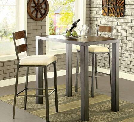 Jazlyn II Collection CM3686BT4BC 5-Piece Dining Room Set with Counter Height Square Table and 4 Counter Height Chairs in Weathered