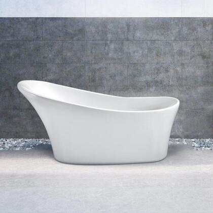 N46063FSWHFM 63 inch  Soaking Freestanding Tub with Internal Drain  Chrome Color Drain Assembly  187 Gallons Water Capacity  and Acrylic/Fiberglass Construction  in
