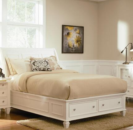 Sandy Beach Collection 400239F Full Size Storage Bed with 2 Drawers  Silver Knob Hardware  Turned Legs  Tropical Veneer and Hardwood Construction in White