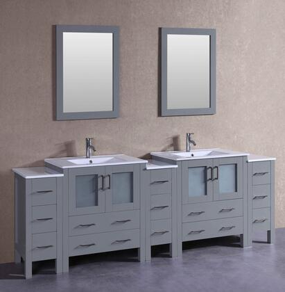 AGR230U3S 96 inch  Double Vanity with White Ceramic Top  Integrated Sink  F-S01 Faucet  Mirror  4 Doors and 13 Drawers in