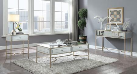 Wisteria Collection 80605CES 3 PC Living Room Table Set with Coffee Table  Sofa Table and End Table in Rose Gold