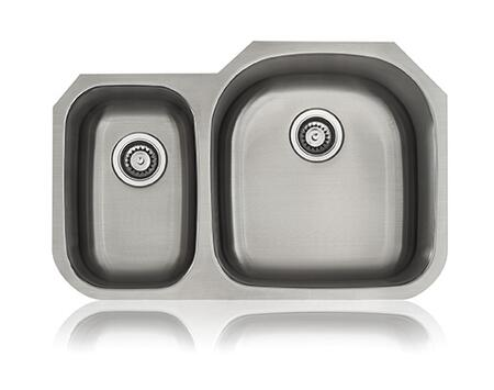 SS-CL-D3R Unequal Double Bowl Undermount Kitchen Sink in Stainless Steel  Big Bowl on