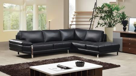 EK-L025 Collection EK-L025L-BK 2-Piece Sectional Sofa with Left Arm Facing Sofa and Right Arm Facing Chaise in