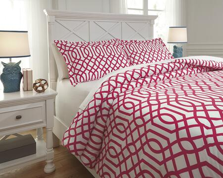 Loomis Q758043F 3-Piece Full Size Comforter Set includes 1 Comforter and 2 Standard Shams with Geometric Design and 200 Thread Count Cotton Material in Fuschia