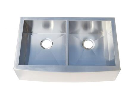 HS3322-5050 Farmhouse Apron Front Stainless Steel 32.88 inch  Double Bowl Kitchen