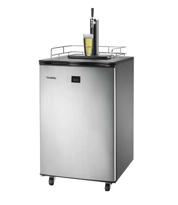 VSL155TDSS Kegerator Beer-Meister with Front Panel Quick View LCD Digital Temperature Display  Locking Swivel Casters  Black Cabinet and Stainless Steel
