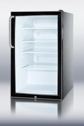 SCR500BLCSS 4.1 cu. ft. Glass Door Refrigerator With Automatic Defrost  Adjustable Glass Shelves  Factory Installed Lock  Interior Light  Adjustable Thermostat