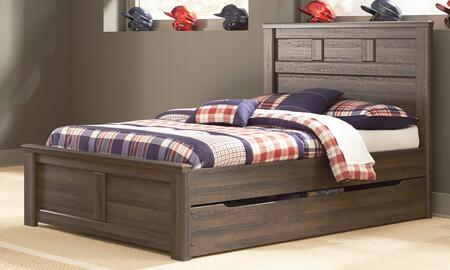 Juararo B251-84/86/87/60/B100-12 Full Size Panel Bed with Trundle Storage and Replicated Oak Grain in Dark
