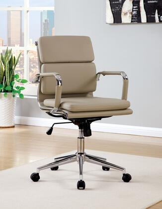 Mercedes CM-FC636S-BR Office Chair with Contemporary Style  Pneumatic Ht. Adjustable Seat  Padded Leatherette Chair  Chrome Base in