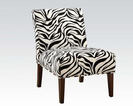 Aberly Collection 59152 30 inch  Accent Chair with Zebra Pattern  Wooden Tapered Legs  Fabric Upholstery  Solid Wood and Rubberwood Materials in Espresso
