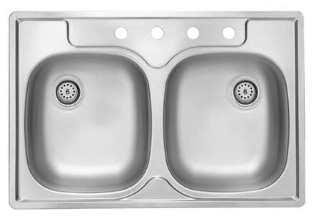PDS603 33 inch  Top Mount ADA Compliant Double Bowl Stainless Steel Sink with Satin Finish and 21-Gauge  3 Faucet Holes