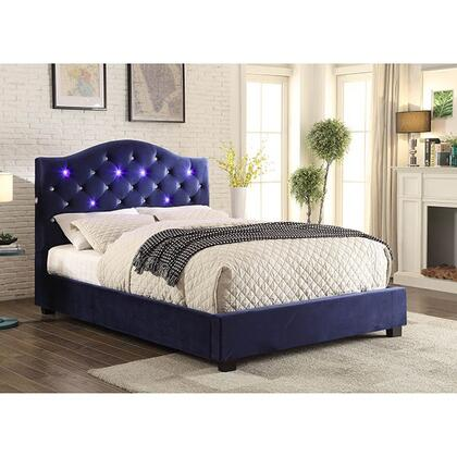 Betelgeuse Collection CM7421NV-CK-BED California King Size Platform Bed with LED Lights  Button Tufted Headboard  Camelback Design  Solid Wood Construction and