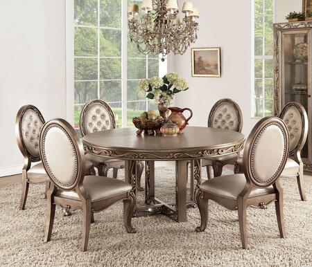 Orianne Collection 63785T6C 7 PC Dining Room Set with Round Shaped Dining Table and 6 Champagne PU Leather Upholstered Side Chairs in Antique Gold