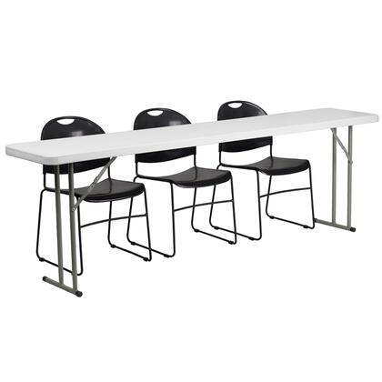RB-1896-1-GG 18'' x 96'' Plastic Folding Training Table with 3 Black Plastic Stack