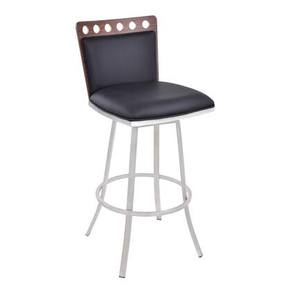 LCCOBABLK26 Coco 26 inch  Counter Height Swivel Barstool in Brushed Stainless Steel finish with Black Pu and Walnut