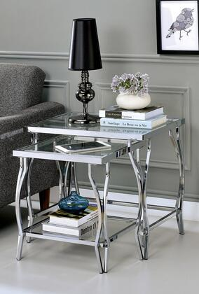 Marfa Collection CM-AC708CRM 2-Piece Nesting End Table with Tempered Glass Top  Glass Bottom Shelf and Metal Frame Construction in