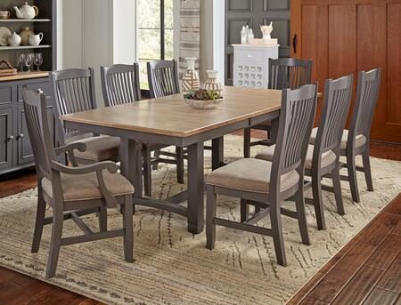Port Townsend Collection POTSPTT6USC2UAC 9-Piece Dining Room Set with Trestle Table  6x Upholstered Side Chairs and 2x Upholstered Armchairs in Gull Grey and