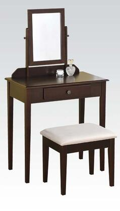 90040 Jamy 3 PC Vanity Set with 1 Drawer  Fabric Upholstered Stool  Adjustable Mirror and Tapered Legs in Espresso