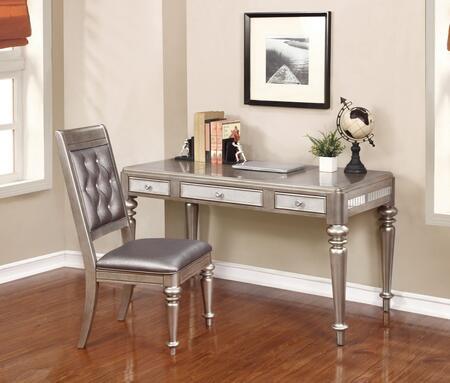 804187DC 2 PC Desks Set with Writing Desk + Side Chair in Metallic Platinum
