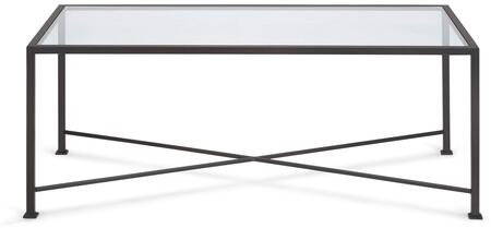 Diversey Collection 207255 40 inch  Coffee Table with X-Shaped Cross Brace  Stacked Foot Design and Solid Steel Bar Powder Coated in Coco Brown