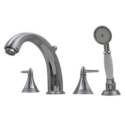 514413TFC Blairhaus Jackson deck mount tub filler set with smooth lined arcing spout  cone-shaped lever handles  beveled escutcheons  hand held shower with