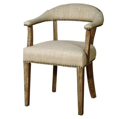 Bernadette Collection 398131-RI Chair with Drift Wood Legs  Nail Head Accents and Bonded Leather Upholstery in