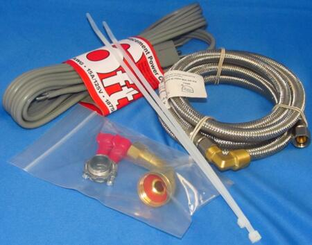 KIT-SSDWC72COMP Dishwasher Installation Kit: 72 inch  Braided Dishwasher Connector with Brass Elbow  Adaptor Elbow  3 Wire Grounded  Topaz Romex Connector  Two