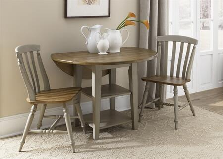 Al Fresco Collection 541-CD-3DLS 3-Piece Dining Room Set wtih Drop Leaf Table and 2 Slat Back Side Chairs in Driftwood & Taupe