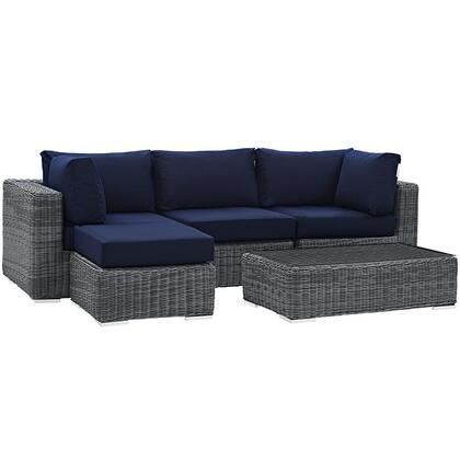 Summon Collection EEI-1904-GRY-NAV-SET 5-Piece Outdoor Patio Sunbrella Sectional Set with Armless Chair  Coffee Table  Ottoman and 2 Corner Sections in Canvas