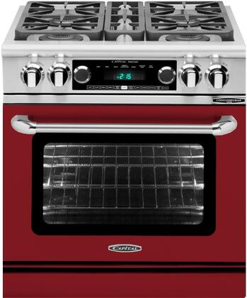 CSB304RN 30 inch  Connoisseurian Series Natural Gas Dual Fuel Range with 4 Sealed Burners  Moto-Rotis  Meat Probe and Flex-Roll Oven Racks  in Ruby