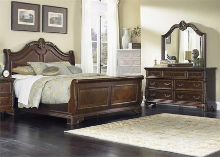 Highland Court Collection 620-BR-KSLDM 3-Piece Bedroom Set with King Sleigh Bed  Dresser and Mirror in Rich Cognac