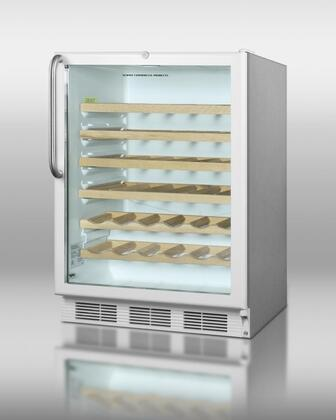 SWC6GWL-CSSWO stainless steel wine cellar with glass door wooden shelves white kickplate and 50 bottle capacity. Built-in