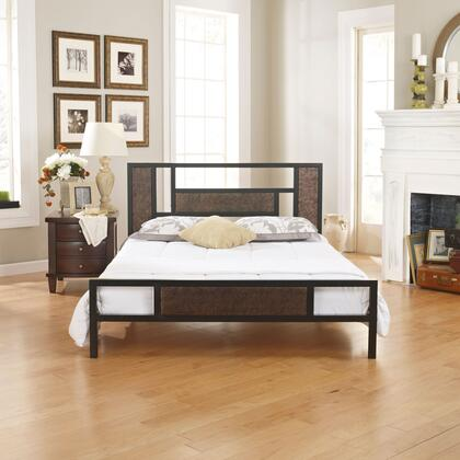 Celina Collection MFP01750DB Double Size Platform Bed with Metal Frame and Modern Style in Black and