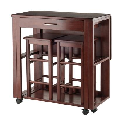 Fremont Collection 94331 3-Pc Space Saver Set with Castered Table  2 Stools and Drop Leaf Extension in