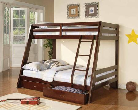460228 Twin over Full Size Bunk Bed with 2 Storage Drawers Included in Cappuccino