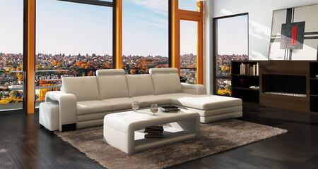 VGEV3131 Divani Casa 3131 Modern White Bonded Leather Sectional Sofa w/Ottoman and Coffee