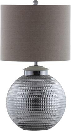 Lamps Collection 961223 Table Lamp with Round Silver Metal Base  Bulb Not Included and Natural Linen-Like Shade in Oatmeal