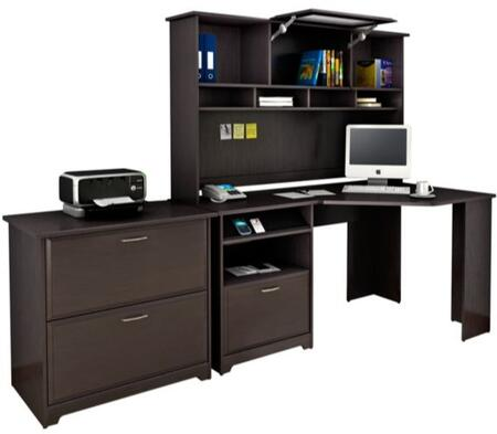 Cabot WC31815-03-31-80 2-Piece Desk and Hutch Set with Lateral File Cabinet in Espresso