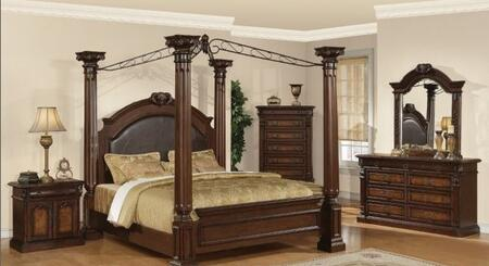 JU2660Q Juliet Queen Canopy Poster Bed with Marble Detail in Two Tone Cherry and Ash Burl