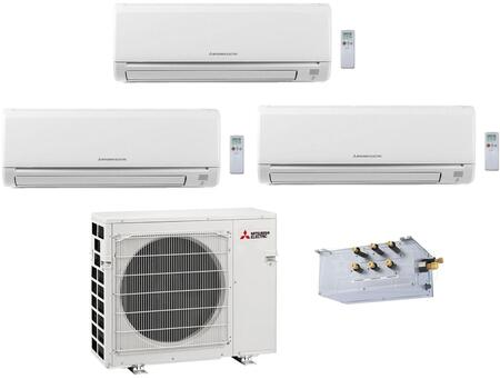 Triple Zone Mini Split Air Conditioner System with 36000 BTU Cooling Capacity  One 9K BTU  One 12K BTU and One 15K BTU Indoor Units  and Outdoor 864778