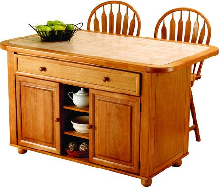 Sunset Selections Collection Cy-kitt02-b24-lo3pc 3 Pc Kitchen Island Set With Kitchen Island + 2 Bar