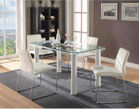 Gordie Collection 702603SET 5 PC Dining Room Set with Glass Top Dining Table and 4 White PU Leather Upholstered Side Chairs in White