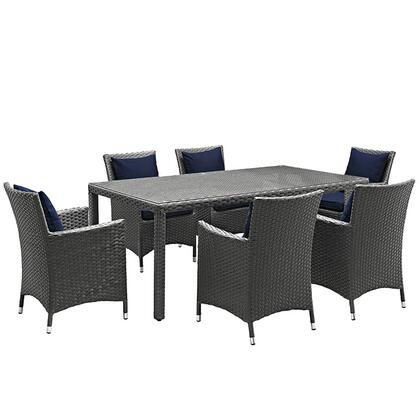 Sojourn Collection EEI-2271-CHC-NAV-SET 7-Piece Outdoor Patio Sunbrella Dining Set with 6 Armchairs and Dining Table in Canvas