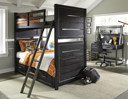 Graphite 8942730731732BDHD 5 PC Bedroom Set with Twin Size Bunk Bed + Desk + Hutch + Chair in Black