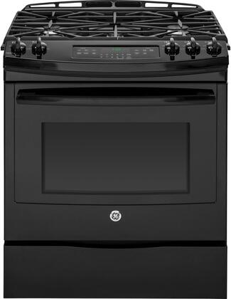 "JGS750DEFBB 30"" Slide-In Front Control Gas Range with 5.6 cu. ft. Oven Capacity  5 Sealed Burners  Self-Clean Function  Convection  and Storage Drawer  in"